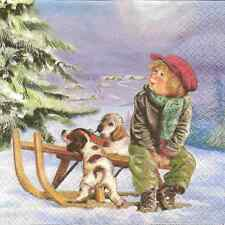 Mesa De Papel Única de 4 Servilletas Para Decoupage Max y sus perros Navidad Invierno
