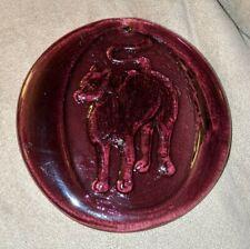 Pressed Stamped Glass Dog Cat Suncatcher Purple Christmas Ornament Medallion Htf