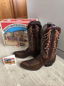 Vintage Justin Chocolate Alligator Boots Men's size 11.5D Style 8862 Very Nice
