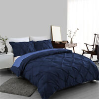 Navy Pintuck Duvet Cover Set 100% Egyptian Cotton Bedding Sets Double King Size