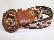 BROWN GENUINE LEATHER Woven Multi-Color Accent Women's Waist Belt Small EUC