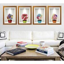 3D Pot Flowers Wall Art Stickers Set of 4