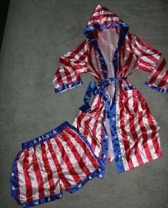 American Classics Rocky Balboa Boxer Costume S robe belt shorts trunks HALLOWEEN