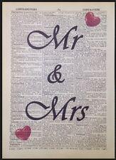 Mr&Mrs Vintage impreso Diccionario Página Arte Mural Imágenes REGALO DE BODA