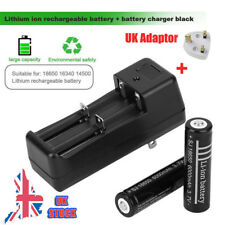 2 x 18650 3.7V 6000mAh Li-ion Rechargeable Battery & Charger+UK Adapter UK Stock