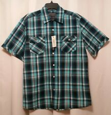 New BRUNO Button Front Shirt SZ M SS Turquoise Multi Plaid Cotton Blend NWT 1014