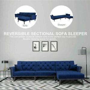 Velvet Sofa Bed Sleeper Futon Convertible Modern Couch Living Room Furniture Kit