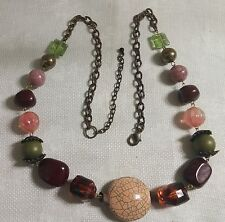 """Vintage Brasstone Metal Multi-Colored Faux Stone Faux Crystal 36"""" Necklace"""