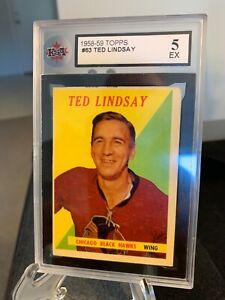1958-59 Ted Lindsay Topps #63 KSA Graded 5 EX - Chicago Blackhawks