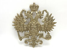 "Lrg 4"" Russian Imperial Double Headed Eagle Silver Plt Casting Romanov Coat Arms"