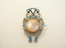 Rare Vintage Coro Enamel & Moonstone Figural Insect Perfumer Brooch / Fur Clip