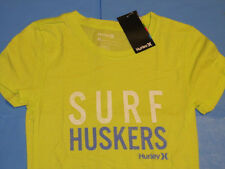 NWT Hurley SURF HUSKERS T-Shirt Women Sz S Lime Green NEBRASKA Perfect Crew