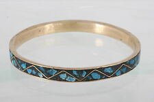 BRASS INDIA BLACK TURQUOISE BANGLE BRACELET FASHION 0760B