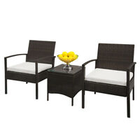 TY-3pcs Rattan Sofa Set Brown 2pcs Arm Chairs 1pc Coffee Table Garden Furniture