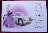 Personalised Handmade A5 Birthday Card Girl Purple 8th 9th 10th 11th 12th 13th