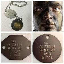 GENUINE MILITARY AUSTRALIAN DOG TAGS BRASS ID AUSSIE DOGTAGS FREE TEXT & POST