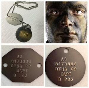 GENUINE CURRENT AUSTRALIAN ADF BRASS ID AUSSIE ARMY MILITARY DOG TAGS FREE TEXT