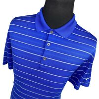 Nike Blue White Striped Dri Fit Short Sleeve Casual Golf Polo Shirt Mens Large L