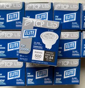 Lot of 12 TCP LED 7W 12V MR16 3000K GU3.5 LED712VMR16V30KFL Dimmable Light Bulb