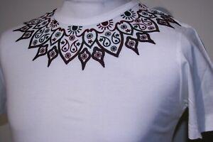 Pretty Green Aztec Embro T-Shirt - XS/S - White - Rare Mod 80s Casuals Top