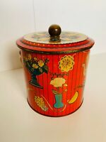 Vintage Baret Ware Art Grace 'Coffee Time' Biscuit Barrel Sweet Tin With Handle