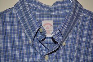 $148 Brooks Brothers Non-Iron Cotton Dress Shirt XL Blue Plaid