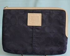 "Coach Padded Small Tablet & Device Sleeve Zippered Navy Blue 8.75"" x 6.5"""