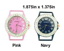 2pcs Colored Round Ribbon Watch Faces with Rhinestones For Interchangeable Bead