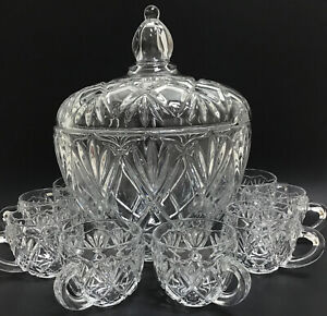 Mikasa Crystal ROXBOROUGH Punch Bowl with Lid & 8 Cups Clear Glass Set Vintage