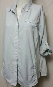 Columbia Women LARGE Snap Button down Hiking Outerwear Roll up Sleeve (#h3