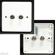 AV Wall Plate, 2 x F type sockets for cable / satellite, plug-through (female)
