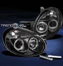 2003 2004 2005 DODGE NEON DUAL HALO LED BLACK PROJECTOR HEAD LIGHTS W/DRL SIGNAL