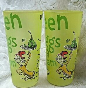 Dr Seuss 2x. Frosted Yellow Glasses GREEN EGGS & HAM Cat in the Hat 1960 RARE