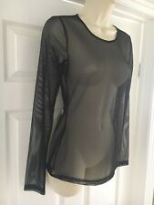 Kenneth Cole Long Sleeve Sheer Mesh Top Black Size XS