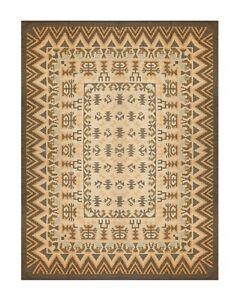 Large Geometric Kilim Rug Handwoven Oriental Brown Cream Wool Carpet 295x380cm