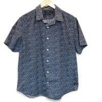 Nautica Mens Sz L Shirt Short Sleeve Button Front 100% Cotton Blue Mini Floral