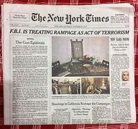 New York Times NEWSPAPER NY December 5, 2015 Editorial:  The Gun Epidemic