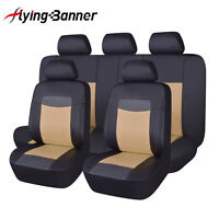 Beige Car Seat Covers Set Universal 5 Seaters Auto Chair Protectors PU Leather