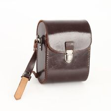 :Vintage Brown Leather Small Binocular Carrying Case w/ Adjustable Strap