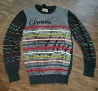 "Desigual sz S Sweater Shirt Jumper Knit Glittery Stripes Long Sleeve ""Dream"""
