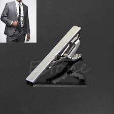Men Metal Silver Tone Simple Necktie Tie Bar Clasp Clip Clamp Pin