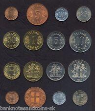 ICELAND COMPLETE FULL COIN SET 1+5+10+25+50 Aurar +1+5+10 Kronur UNC LOT of 8