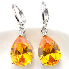 Stylish Natural Golden Citrine Gemstone Platinum Plated Danlge Hook Earrings
