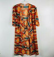 LuLaRoe Size Small Aztec Boho Print Shirley Kimono Top Orange Sheer Short Sleeve