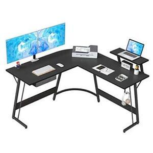 """L-Shaped Desk Computer Corner Desk, 50.8"""" Home Gaming Desk, Office Black"""