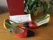 Vintage Bally red green blue yellow leather t-bar court shoes UK 6 EU 39 RRP £89