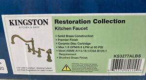 Kingston Brass KS327.ALBS Restoration 1.8 GPM Bridge Kitchen Faucet- Brass