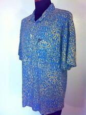 Mens QUICKSILVER Hawiian Camp Shirt L Large Blue Tan Beautiful!
