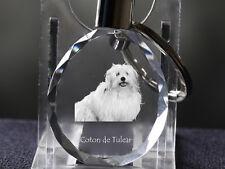 Coton de Tulear, Dog Crystal Round Keyring, High Quality, Crystal Animals Ca