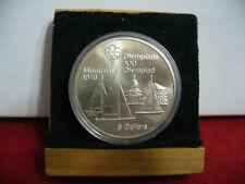 1976   MONTREAL  OLYMPICS  SILVER 5$ COIN   CANADA KINGSTON & SAILBOATS  BU .925